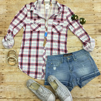Penny Plaid Flannel Top: Burgundy/Blue