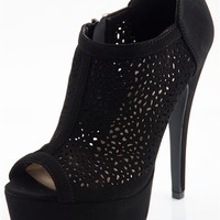Peep Toes Perforated Platform Pumps - Black from Qupid at Lucky 21