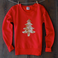 Sequin Patch Christmas Sweatshirt  Not Your Ugly Christmas Sweater Cute Christmas Shirt for Women Teens Gift for Her Christmas Tree Jumper