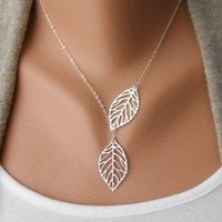 ANTIQUE SILVER Leaves Clavicle Chain Necklace from http://www.looback.com/