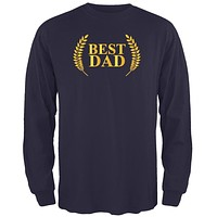 Fathers Day - Best Dad Laurel Navy Adult Long Sleeve T-Shirt