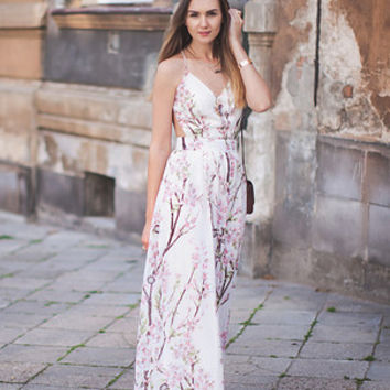Floral Dress Spring - Apricot Florals V-neck Spaghetti Straps Backless Maxi Dress