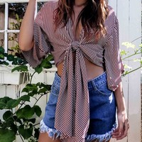 Red Stripe Plunge Wide Sleeve Tie Front Crop Top