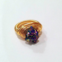 Titanium druzy wire wrapped gold ring - citrine - size 7  - rainbow ring - chunky ring - cocktail ring - natural gemstone ring