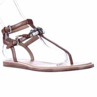 Coach Becky Love Coach Lettered Ankle Strap Sandals - Saddle