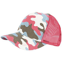 RaOn M60 Women Neon Military Pattern Cute Army Fashion Camping Hat Truckers Ball Cap (Red)