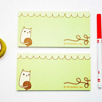 Green Yarn Kitty Notepad