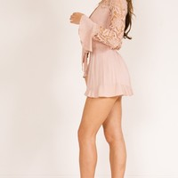 Speaking To You playsuit in blush crochet Produced By SHOWPO