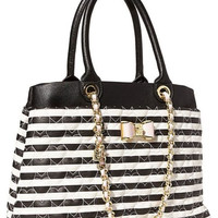 Betsey Johnson Be My Bow Shopper Pinstripe Bag