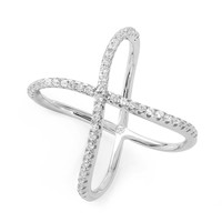 Sterling Silver Wavy Crystal X Ring