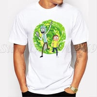 Wubba Lubba Dub Dub Men cartoon printed t-shirt short sleeve casual basic male tops hipster Rick And Morty Adventure funny tee
