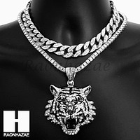 Hip Hop Silver Drake Tiger Miami Cuban Choker Tennis Chain Necklace BS