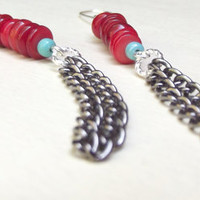 Red Coral Earrings:  Bohemian Fashion Turquoise Blue Long Dangle Chain Fringe, Hippie Shoulder Duster