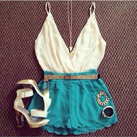 White Deep V-Neck Top and Blue Scalloped Shorts