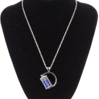 Doctor Who Silver Spinning TARDIS Necklace