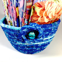 Small Handmade Basket   Hand Coiled Rope   Clothesline Bowl   Aqua Ombre Organizer - Fiber Art Decor - Upcycled Planter- Fabric Bowl Petite