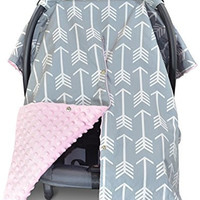 Premium Carseat Canopy Cover and Nursing Cover- Large Arrow Pattern w/ Pink Dot Minky | Best Infant Car Seat Canopy for Girls | Cool/ Warm Weather Car Seat Cover | Baby Shower Gift 4 Breastfeeding Mom