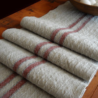 "Hand Woven Table Runner Rustic Cotton Linen  - Woven Reproduction Grainsack Runner - Long Farmhouse  Runner Taupe, Wine, Grey - 11.5""x82"""