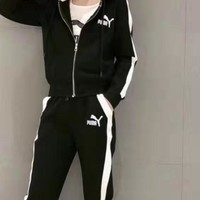 """""""PUMA"""" Woman Leisure Fashion Wild Letter Embroidery Printing Zipper Hooded Long Sleeve Coat Vest Elastic Band Trousers  Three-Piece Set Casual Wear"""