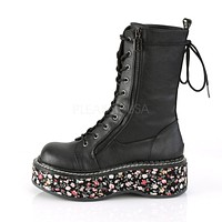 Emily 350 Goth Black Matte Ankle Boot Floral Flat-form Combat Boots 6-12  - Demonia Direct