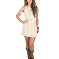 Karlie Women's Cream with Floral Lace & Tassel Trim Sleeveless Dress