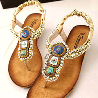 Beads Embellished Flat Sandals JKG060502f