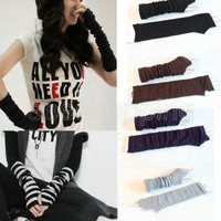 Women Girl Boy Slouch Gothic Striped Long Fingerless Knit Gloves Mittens Funky Emo Arm Warmer = 1958026884