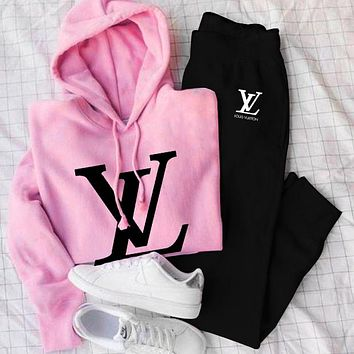 LV Louis Vuitton Fashion Woman Men Hoodie Sweater With Pants Trouse Two Piece Suit Black Pink