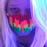 Neon Melting Rainbow Kandi Mask