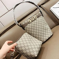 GUCCI  Fashion New More Letter Pattern Leather Handbag Shoulder Bag Crossbody Bag Bucket Bag Two Piece Suit