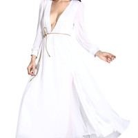Pure White Layered Sheer Ruffling Maxi Dress - OASAP.com