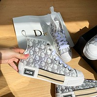 Dior Letter high-top presbyopia casual sneakers women thick flat-bottom sports couple mesh canvas shoes men