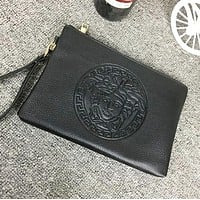 Versace Popular Women Men Leather Handbag Business Envelope Purse Bag