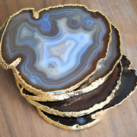 Set of 4 Gold Rimmed Agate Coasters - Gold Plated Agate Coasters, Natural Agate Coasters