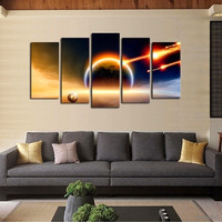 5PCS No Frame Modern Space Universe Landscape Painting Earth Meteorite Print Canvas Painting Wall Picture Home Decor Living Room