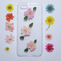 iPhone 5c Case Flower, Pressed Flower iPhone 6 Plus Case, pink flower iPhone 5s Case, Clear iPhone 6s Case, iPhone 6 Case Clear