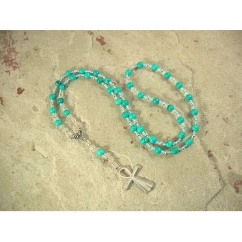 Egyptian Prayer Bead Necklace in Stabilized Turquoise with Ankh