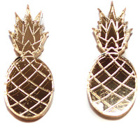 Gold Pineapple Stud Earrings