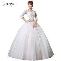 Lamya Plus Size Sexy Backless Wedding Dress With Lace Half Sleeve 2016 Crystal Sashes Bride Gown Wed Dresses vestido de noiva