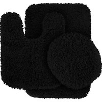 Garland Rug 3-Piece Serendipity Shaggy Washable Nylon Bathroom Rug Set, Black