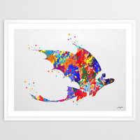 Toothless Fury How to train your DRAGON Watercolor illustration Art Print,Wall Art Poster,Home Decor,Wall Hanging,Boy Art,Birthday Gift,No 9