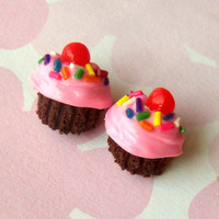 chocolate cupcake post earrings polymer clay pink frosting with sprinkles and cherry stud earrings