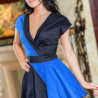 Blue Short Sleeve V-neck A-Line Mini Skater Dress