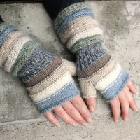 Oyster Bay Striped Hand Knit Fingerless Gloves with upcycled yarn and kid mohair