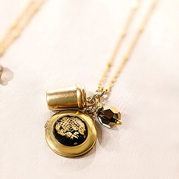 Swarovski Crystal & Coffee Cup Locket Necklace