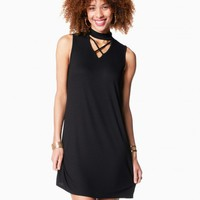 Cross Choker Trapeze Dress | Charming Charlie
