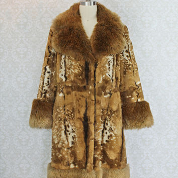 Vintage 60's Shaggy • SCHWARTEX • Made In England Faux-Fur Coat