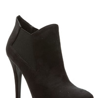 Black Faux Suede Pointed Toe Ankle Booties