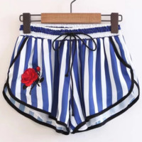 Summer Fashion Sexy High Waist Embroider Flower Stripe Shorts