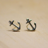 Anchor Stud Earrings, Sterling Silver Nautical Studs